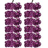 Gazechimp 144x Mini Rosen Blüten Künstliche Blume aus Papier Dekoration - Lila, 7 cm