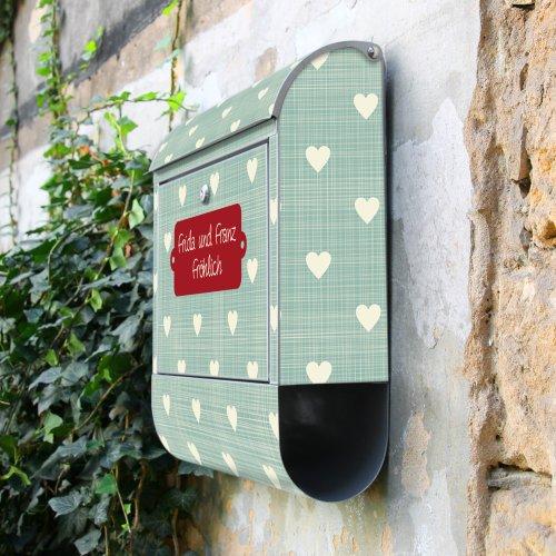 BANJADO Design Briefkasten mit Zeitungsfach, 2 Schlüssel, A4 Einwurf, silber pulverbeschichtet, mit Motiv WT Muster Herzen - 9