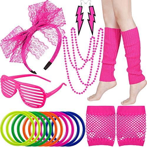 Jahre 80er Beliebte Kostüm - WILLBOND 80er Jahre Kostüm Zubehör Bein Wärmer Stirnband Handschuhe Ohrringe Armband und Perlen