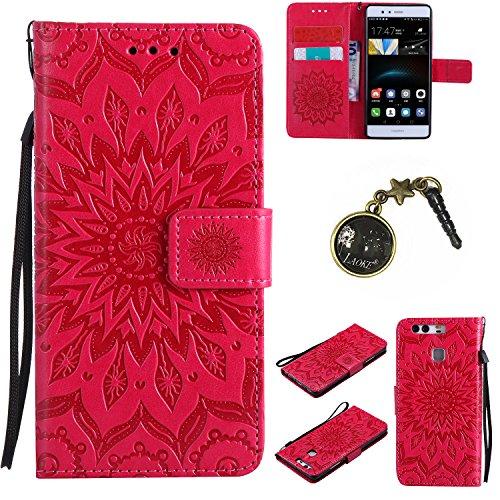 Preisvergleich Produktbild für Smartphone Huawei P9 Hülle,Hochwertige Kunst-Leder-Hülle mit Magnetverschluss Flip Cover Tasche Leder [Kartenfächer] Schutzhülle Lederbrieftasche Executive Design +Staubstecker (8FF)