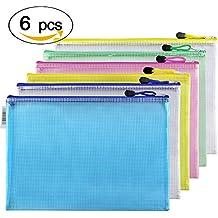 '6Stück A4Größe Mesh Dokument Tasche Zip-Datei Tasche mit Reißverschluss für Kosmetik Schule Büro Hausaufgaben Aufbewahrung Reisen Zubehör