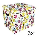 Ordnungsbox Dekobox aus Karton mit Deckel 3-er Set Motiv Eulen 37 x 30 x 32 cm