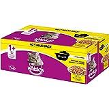 Whiskas Ragout 1 + kattenvoer, hoogwaardig nat voer voor gezonde vacht, vochtige voering in verschillende smaken