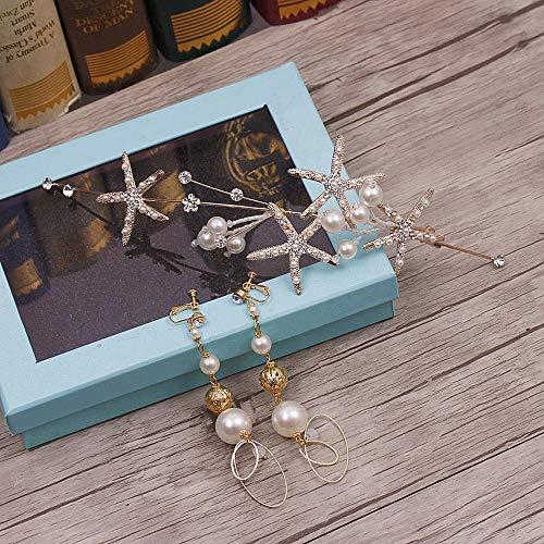 Littlefairy Braut Haarschmuck,Braut Hochzeit Kopfschmuck Fee Schönheit Super Fee süße Perle Seestern Haar Creolen Set