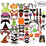 nuoshen 59 pcs Halloween Photo Booth Props, Funny Photograph Posing Props Kit Holiday Day Props for Halloween Party Favors