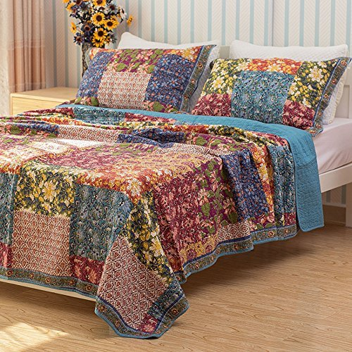 Shabby Chic Floral 3 Stück Country Patchwork Tagesdecke Quilts Set Queen King - Retro-chic Quilt