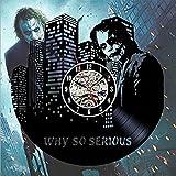 OOFAY Clock@ Wanduhr Vinyl Schallplattenuhr Ernst Ausdruck Thema Kreativität Design-Uhr Wand-Deko Familien Zimmer Schwarz Durchmesser 30Cm