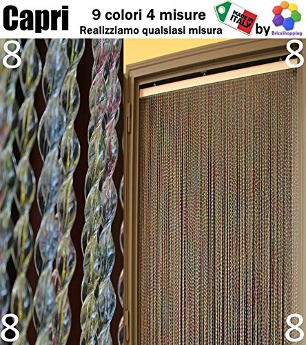 Tenda moschiera zanzariera pvc capri 9 colori 4 misure made in italy (cm 150x250, (8) multicolor)