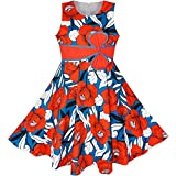 LL75 Girls Dress Hat Red Flower Summer Beach Party Age 11-12 Years