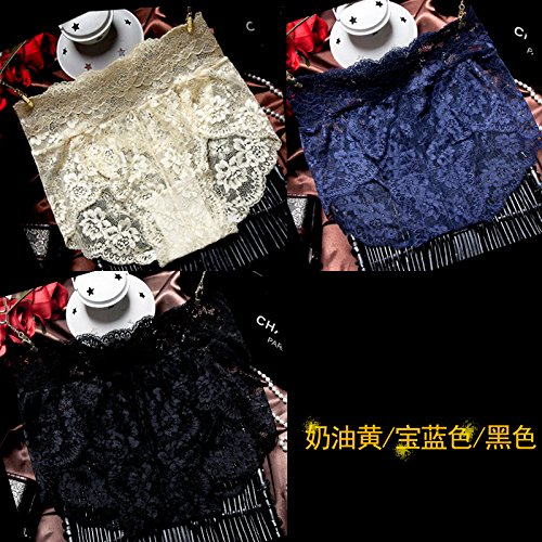Teen M&m Kleid Kostüme Blauen (RRRRZ*eingerahmt in Unterwäsche taille Spitzenunterwäsche Frau Versuchung Unterwäsche 3 Ecke Hosen und non-marking 3 Ecke Hose ,M, Schwarz / Blau / Gelb)
