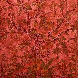 Couverture indienne ARBRE DE VIE 230x205cm Tenture Rouge Coton Ameublement Décoration Textile Couvre-lit