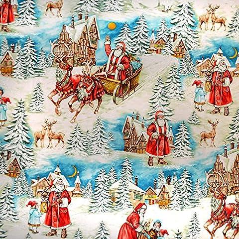 Weihnachten Stoff–Vintage Vater Weihnachten–Baumwolle von 60cm–Baumwolle von 60cm–MM550–von Michael Miller–100% Baumwolle