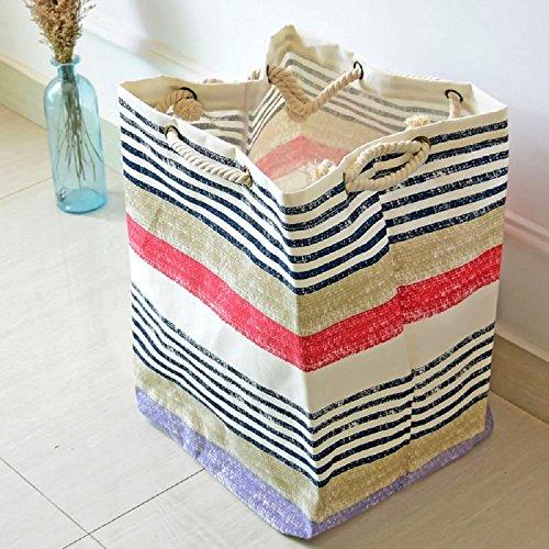 K&C Home tessuto di lino piegato i vestiti di lino cotone vassoio cesto borsa di tela con manici