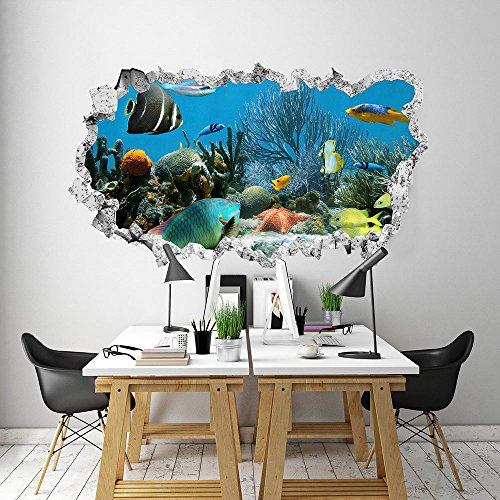 3DA0019 Adesivo murale Arredo Casa Wall Art - Acquario tropicale 3D - Misure 110x65 cm - Decorazione parete, adesivi per muro, carta da parati