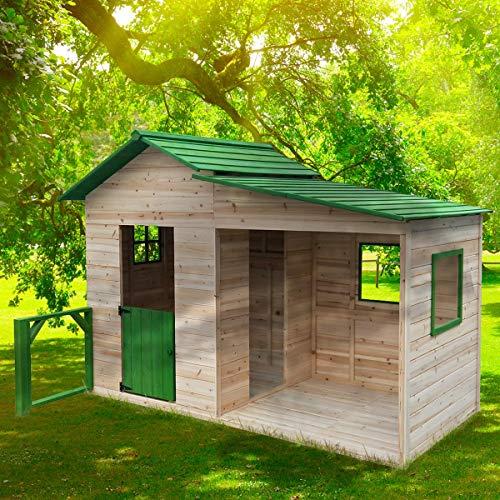 """BRAST Spielhaus\""""Gartenlaube\"""" für Kinder 3qm 244x124x174cm Tannenholz 12mm Kinder-Haus Spielehaus Garten Holz-Haus"""