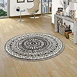 Pergamon Designer Teppich Sevilla Mandala Schwarz Weiss Rund in 4 Größen