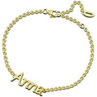 SOUFEEL Personnalisé Bracelet Prenom 14K Or Rose Plauqé Argent 925 pour Femme Homme Cadeau Maman Bracelet…