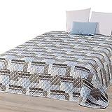 Delindo Lifestyle Tagesdecke Bettüberwurf Laval, für Doppelbett, Patchwork Blau, 220x240 cm