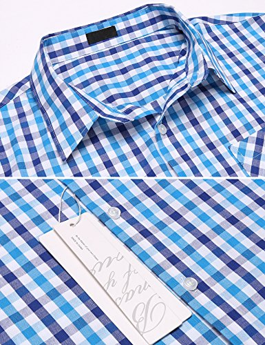 Burlady Karohemd Herren Langarm Hemd Kariert Regular Fit Trachtenhemd Cargo Bügelleicht Freizeithemd Männer Hellblau