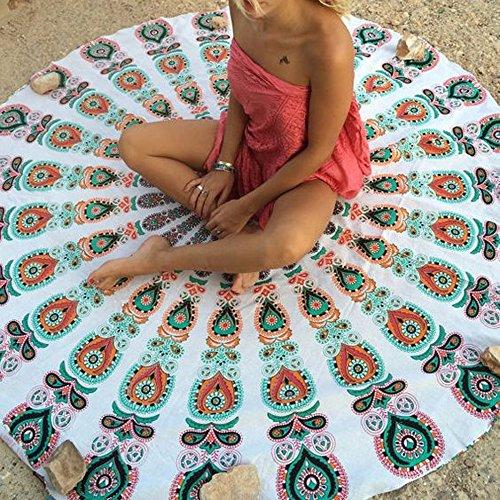 HiChili Runde Mandala Tapestry Strand Werfen Sexy Cloth, Beliebtes Handwerk Böhmen Bunt Drucken Pfau Tapisserie Bettüberwurf Mehrzweck, Rund Strandtuch Yoga Matte Tischdecke Dekor Wandbehang, Beach Blanket, Sunscreen Schal Wandteppich Wickelrock Yoga-Matte Indischen Handtuch,Weiß Pfau, #2 (Bai Ananas)