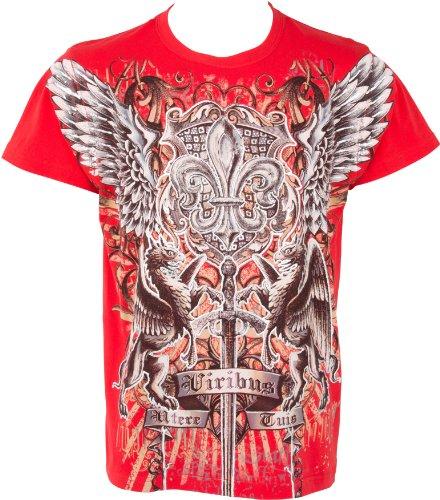 Sakkas Swoderd and Griffin T-Shirt aus Baumwolle für Männer Schwarz Rot