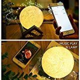 Mond-Lampe Kinder Nachtlichter Bluetooth Lautsprecher - ELINKUME 13CM/5,12 Zoll Nachttischlampe Stimmungslichter mit Wireless Speaker Dimmbar 3 Farbe, Timing Gerät, USB 3D Mond Tischlampe