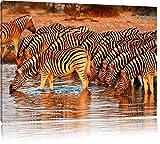 Zebras, Safari, Sonnenuntergang, Afrika 100x70cm Bild auf Leinwand, XXL riesige Bilder fertig gerahmt mit Keilrahmen. Kunstdruck auf Wandbild mit Rahmen. Günstiger als Gemälde oder Ölbild, kein Poster oder Plakat