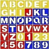 CKANDAY 36 piezas de Juego de plantillas de números y alfabeto,3 colores plantillas de letras de plástico para el aprendizaje de la pintura decoración artesanal bricolaje proyectos de arte,4 pulgadas