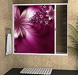 Mampara para bañera enrollable con cajón derecha y cierre izquierda 180 x 150 con imagen Flor...