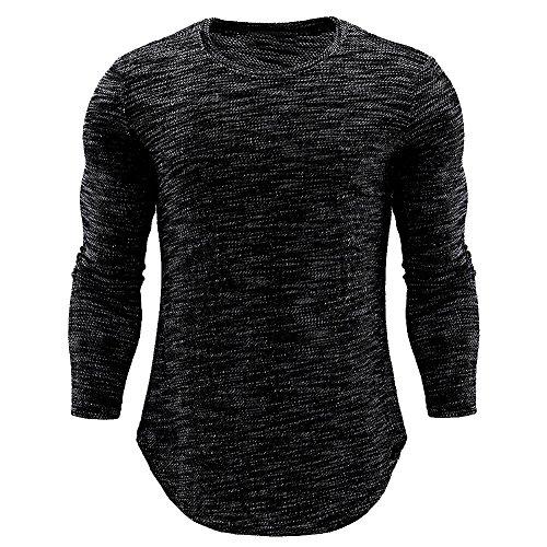 Basic T-Shirts für Männer,Loveso ★ Herren Slim Fit Sport Fitness Training Crewneck Täglichen Modern Sweatshirt Langarmshirt Pullover Warm - Strand Crewneck Sweatshirt