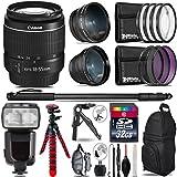 "Canon EF-S 18-55mm III Camera Lens + Pro Flash + 0.43X Wide Angle Lens + 2.2X Telephoto Lens + UV-CPL-FLD Filters + Macro Filter Kit + 72"" Photo/Video Monopod - International Version"