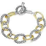 UNY Bracelet Designer Brand Inspired Antique Women Jewelry Cable Wire Vintage Valentine (2 Tone)