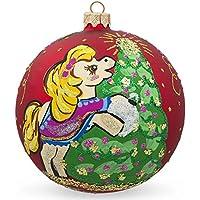 8,3cm pony cavallo decorazione albero di Natale palla di vetro di Natale ornamento