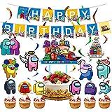 Among Us Party Supplies - Among Us Birthday Party Decoraciones Banner de feliz cumpleaños, globo, espiral, adorno para tarta