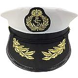 Gorra capitán hombres mujeres negro blanco - Disfraz para Adultos y Niños - Perfecto para Carnaval - Talla única (A)
