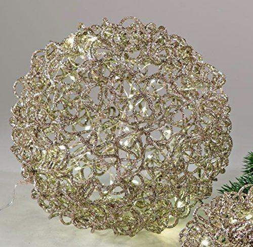 Preisvergleich Produktbild Dekokugel aus Rattan, champagner mit LED Beleuchtung, 14 cm