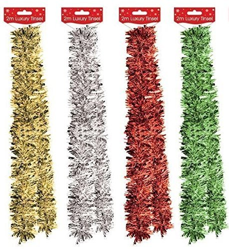 2m Christmas Tree Decoration Tinsel Garland - Gold, Green, Red or Silver by Home Collection (Gold Tree Garland)