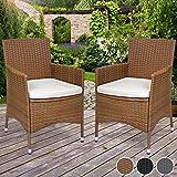 Miadomodo Set di 2 sedie poltrone da giardino esterno in polyrattan con cuscino ca. 58/58/84 cm colore marrone immagine