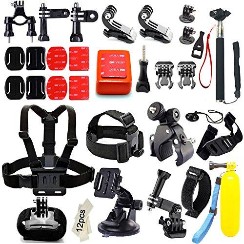 Iextreme Zubehör, 45-in-1 Zubehör Bundle Set für GoPro Hero 4/3+/3/2/1, Kamera Zubehör Kit für SJ4000 / 5000/6000 Xiaomi Yi--Kopfband + QuickClip + Grab Bag Chesty (Brustgurt-Halterung) + The Handler (schwimmender Handgriff) + Lenker/Sitzrohr/Stangenhalterung+Gurthalterung für belüftete Helme + Überrollbügel-Halterung + Abnehmbare Instrumentenhalterung