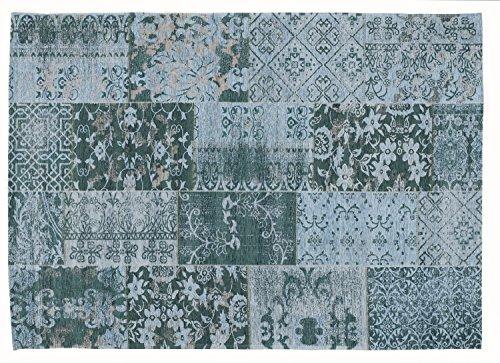 DALLIANCE ALLOVER Vintage Patchwork Velour Teppich in türkis, Größe: 120x180 cm