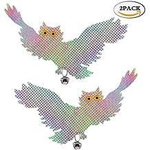 Set di 2 Spaventapasseri Riflettenti Luce a Forma di Gufo da Appendere Repellente Uccelli per Deterrente e Spaventare Piccioni Volatile Corvi Merli sul Terrazzo Davanzale Balcone Albero e Giardino (Gufo a volare)