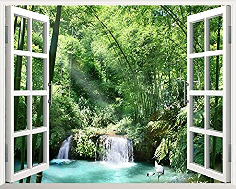 SADASD Wall Sticker The Green Bamboo Forest Series Wall Trees Maple Leaf Lounge Posters Yam Road Leave The Window New B-90*72Cm
