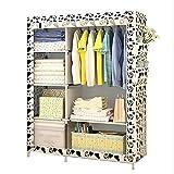 Udear Tissu non tissé Garde-robe en acier Portable Home Armoire de vêtements de stockage Organiseur