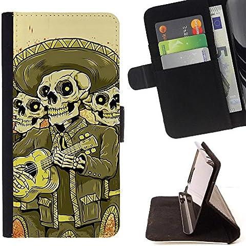 HTC 10 /HTC 10 Lifestyle , Nero Bianco Capone Gangster Skull - Portafoglio in pelle della Carta di Credito fessure PU Holster Cover in pelle case