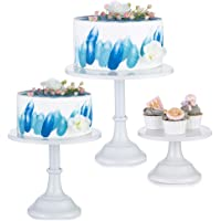Nuptio Présentoirs à Gâteau 3 Pièces Rond en Métal Présentoirs à Gâteaux 3 Plateaux Présentoirs à Desserts avec Un…
