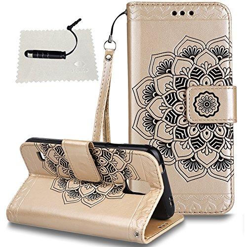 TOCASO Samsung Galaxy S5 Hülle, Leder Tasche Schwarz Flip Wallet Case Glitzer Blume Kartensteckplätze HandyHülle Samsung Galaxy S5 Schutzhülle Standfunktion und Magnetverschluß* Color 3