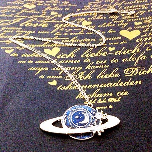 NECCLECS Halskette Schmuck Exquisite Planet Moon Anhänger Halskette Japanische Legierung Lange Halskette, Marineblau