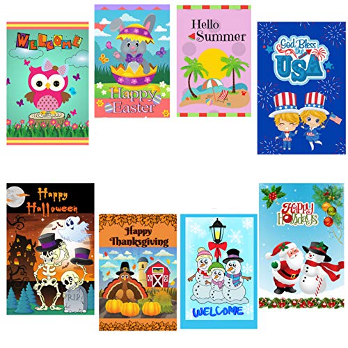Bee Einfach Seasonal Garten Flaggen Set of 8, Double Sided, Polyester-Qualität-, 30,5 x 45,7 cm in Den USA Entworfen. (Halloween In Des Usa Den Tag)