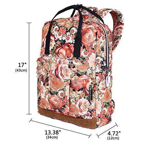 EGOGO Student Rucksack Handtasche Tasche Große Kapazität Rucksack Sporttasche Orange Rose