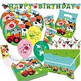68-teiliges Party-Set Farm Fun - Bauernhof - Tiere - Teller Becher Servietten Tischdecke Partykette Einladungen Partytüten Trinkhalme Luftballons für 8 Kinder